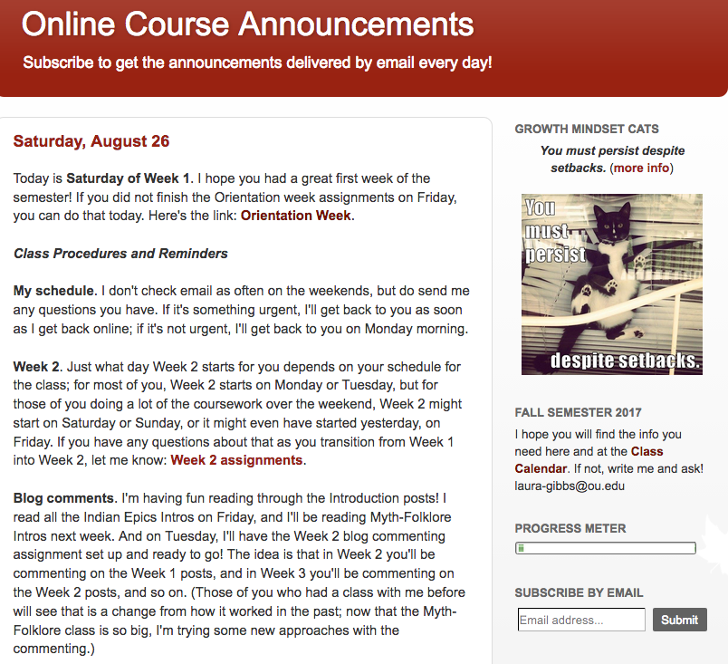 online course wiki announcements